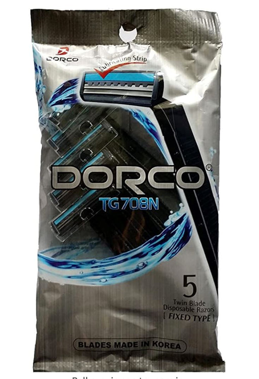 Dorco TG708N Twin Blade Disposable Razors Fixed Type 5pcs-Pack of 3 - Yin Yam - Asian Grocery