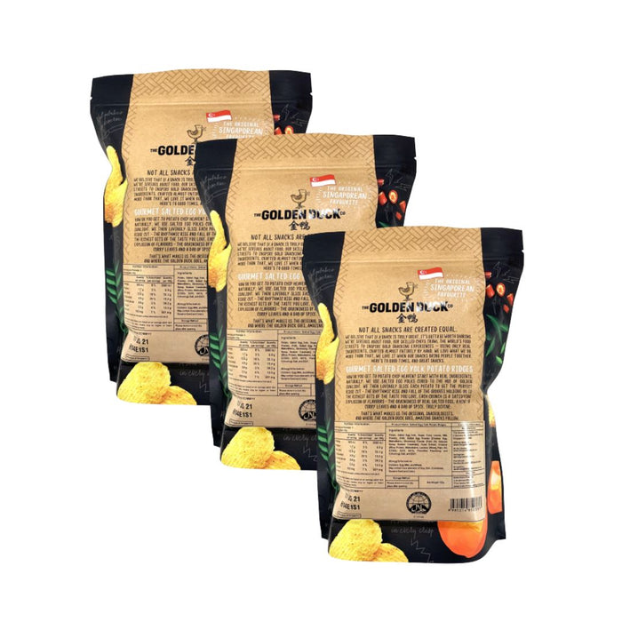 Golden Duck Gourmet SALTED EGG YOLK Potato Ridges 125g-Pack of 3