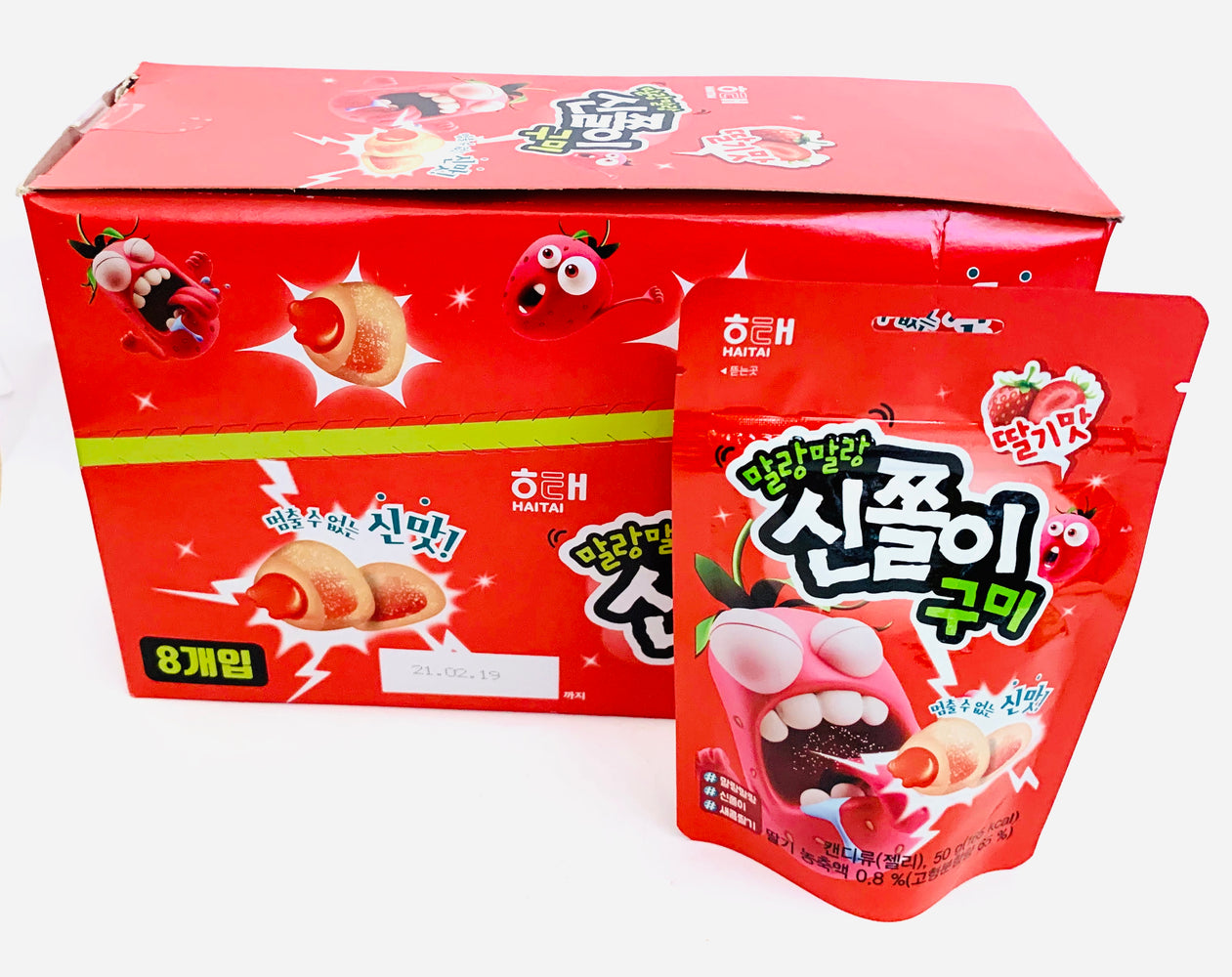 Haitai STRAWBERRY Flavour Jelly Gummy 50g-Pack of 8
