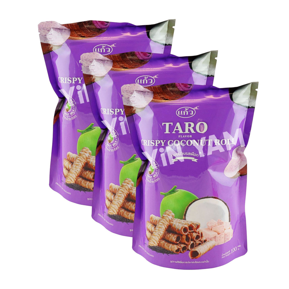 Kaew TARO Crispy Coconut Roll 100G-Pack of 3