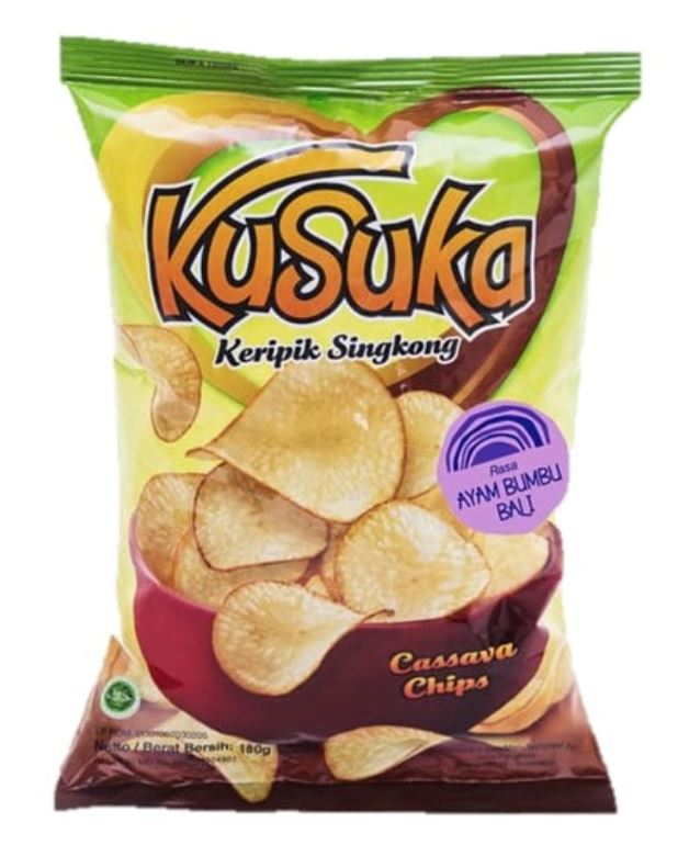 Kusuka Cassava Chips Chicken Bali Spicy 180g - Yin Yam - Asian Grocery
