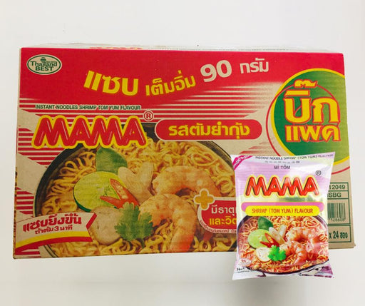 Mama Instant Noodles TOM YUM SHRIMP 90g-Pack of 24 Noodle for Cooking Mama