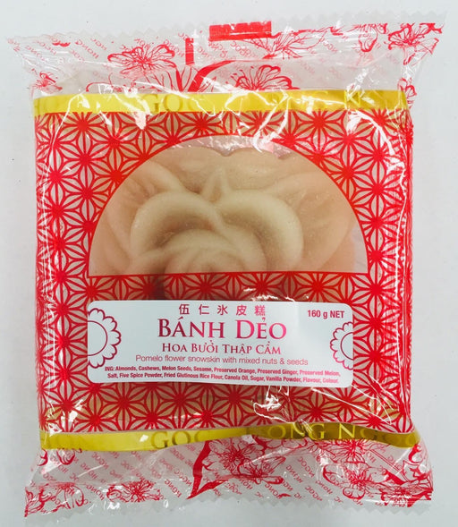 Moon Cake BANH DEO HOA BUOI THAP CAM Pomelo Flower Snowskin with Mixed Nuts & Seeds Filling 160g