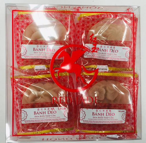 Moon Cake BANH DEO HOA BUOI THAP CAM Pomelo Flower Snowskin with Mixed Nuts & Seeds Filling 160g-Box of 4