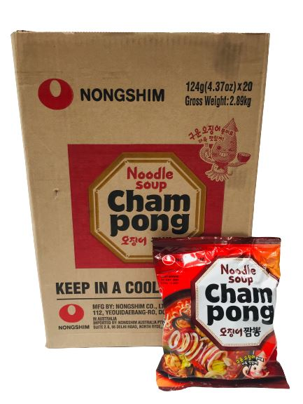 Nongshim CHAMPONG Noodle Soup SPICY SEAFOOD 124g -Carton x 20