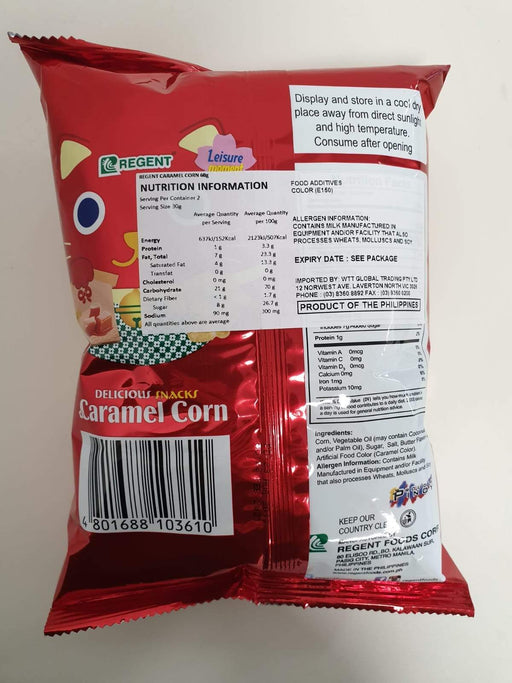 Regent Caramel Corn 60g - Yin Yam - Asian Grocery