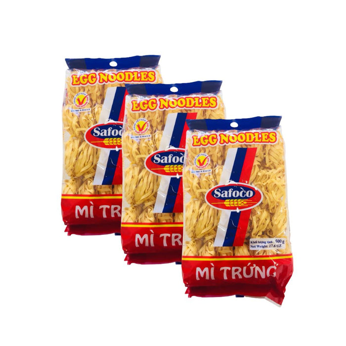 Safoco Mi Trung Egg Noodles THICK 500g-Pack of 3
