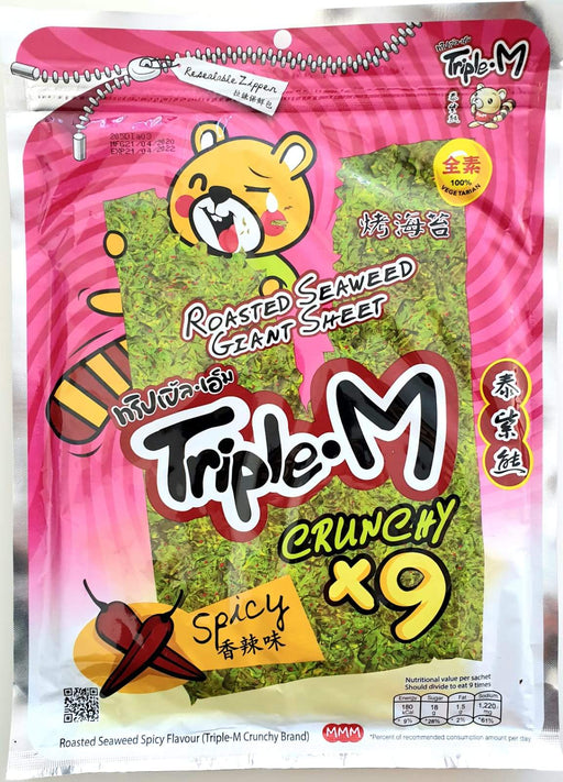 Triple M Roasted Seaweed Giant Sheet Spicy 45g (5gx9pcs) - Yin Yam - Asian Grocery