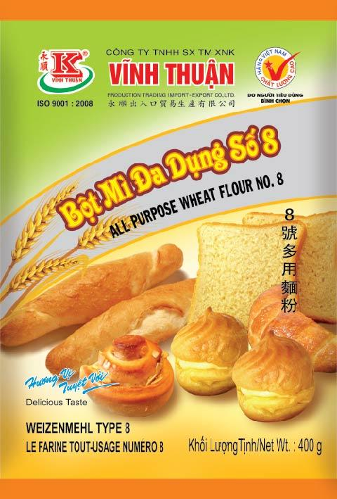 Vinh Thuan Bot Mi Da Dung All Purpose Wheat Flour No.8 400g - Yin Yam - Asian Grocery