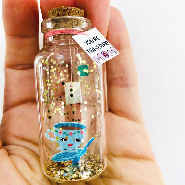 """You're Tea-rrific Mom"" Tea Cup Gift Bottle - AwwBottles"