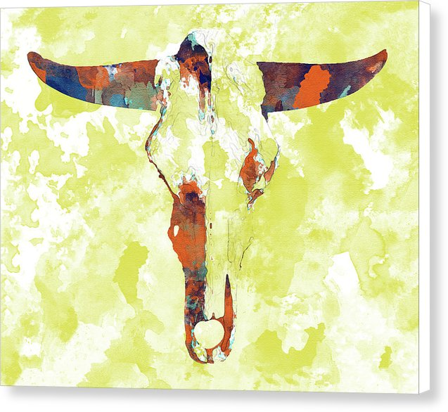 Abstract Cow Skull Watercolor Painting - Canvas Print from Wallasso - The Wall Art Superstore