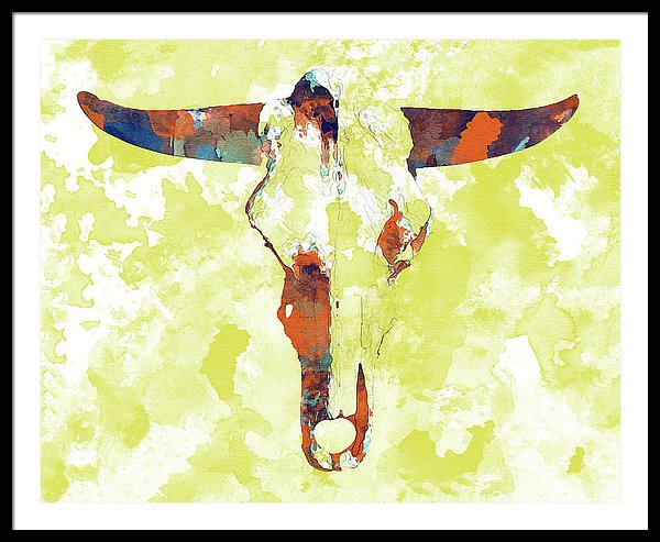 Abstract Cow Skull Watercolor Painting - Framed Print from Wallasso - The Wall Art Superstore