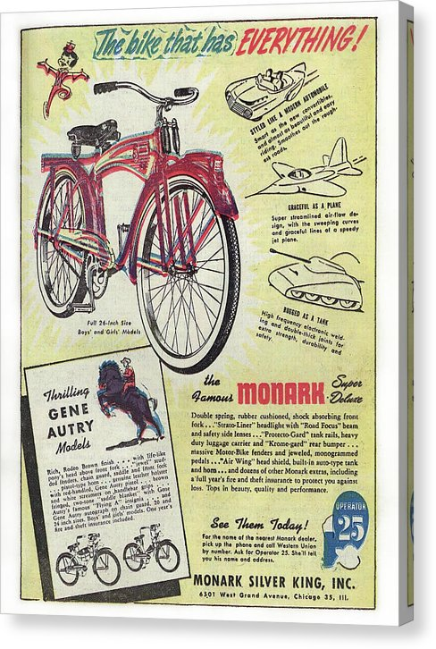 Bicycle Advertisement, Vintage Comic Book - Canvas Print from Wallasso - The Wall Art Superstore