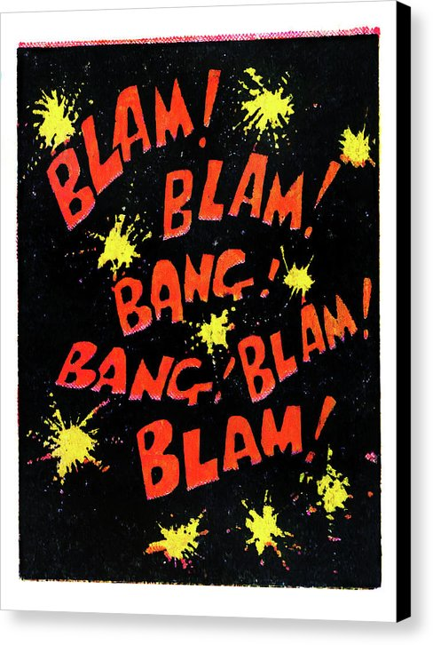 Blam, Bang, Blam, Vintage Comic Book - Canvas Print from Wallasso - The Wall Art Superstore