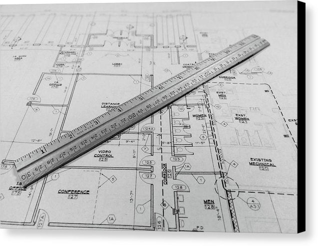 Blueprint With Ruler - Canvas Print from Wallasso - The Wall Art Superstore