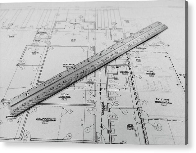 Blueprint With Ruler - Acrylic Print from Wallasso - The Wall Art Superstore