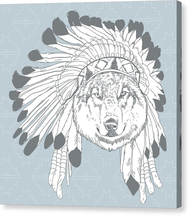 Boho Wolf In Native American Headdress - Canvas Print from Wallasso - The Wall Art Superstore