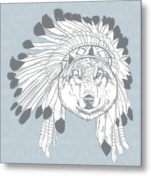 Boho Wolf In Native American Headdress - Metal Print from Wallasso - The Wall Art Superstore