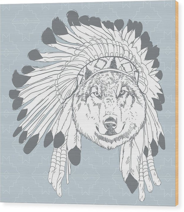 Boho Wolf In Native American Headdress - Wood Print from Wallasso - The Wall Art Superstore