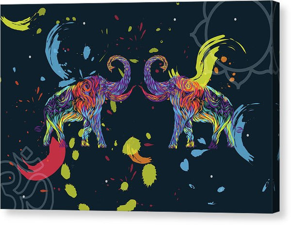 Colorful Elephant Swirl Abstract Painting - Canvas Print from Wallasso - The Wall Art Superstore