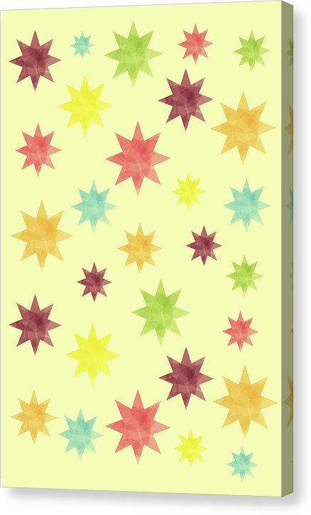 Colorful Watercolor Stars Pattern - Canvas Print from Wallasso - The Wall Art Superstore