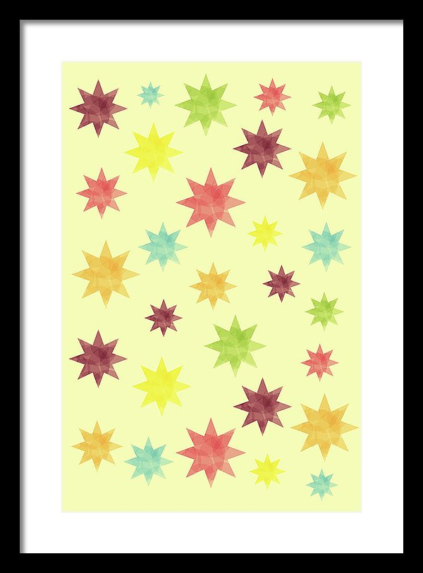 Colorful Watercolor Stars Pattern - Framed Print from Wallasso - The Wall Art Superstore