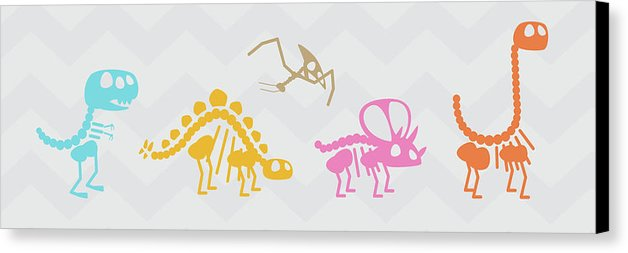 Cute Dinosaur Skeletons For Kids - Canvas Print from Wallasso - The Wall Art Superstore
