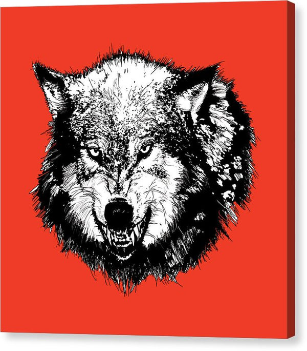 Growling Wolf Head - Canvas Print from Wallasso - The Wall Art Superstore