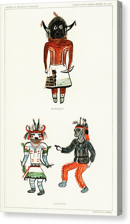 Hopi Katcinas Piokot Turkwinu Turkwinu Mana Illustration, 1895 - Canvas Print from Wallasso - The Wall Art Superstore