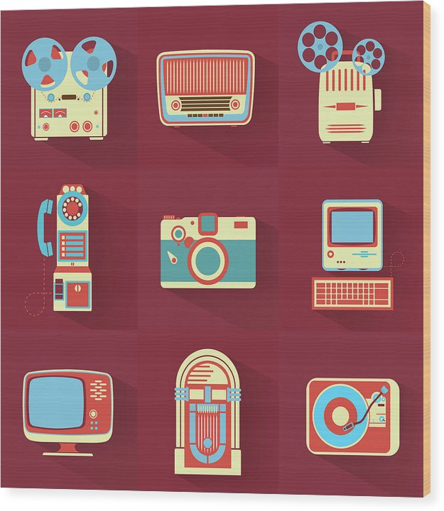 Icons of Retro Electronics - Wood Print from Wallasso - The Wall Art Superstore