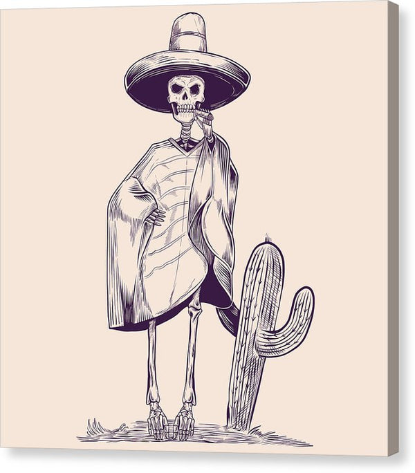 Mexican Skeleton In Desert With Sarape, Sombrero, And Cigar - Canvas Print from Wallasso - The Wall Art Superstore