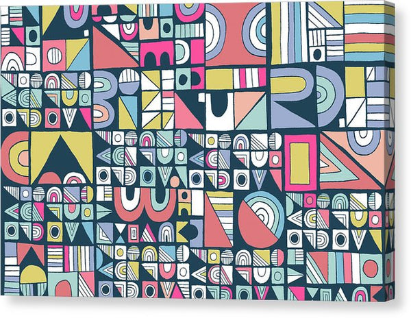 Modern Geometric Pattern With Retro 1980s Vibe - Canvas Print from Wallasso - The Wall Art Superstore