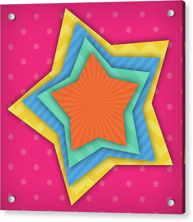 Multicolored Star Pattern For Kids - Acrylic Print from Wallasso - The Wall Art Superstore