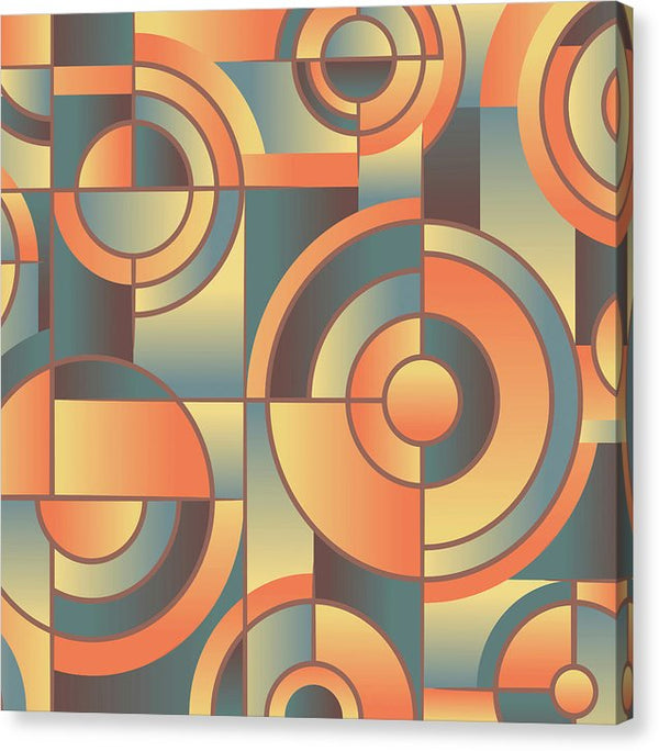 Orange Art Deco Circles - Canvas Print from Wallasso - The Wall Art Superstore