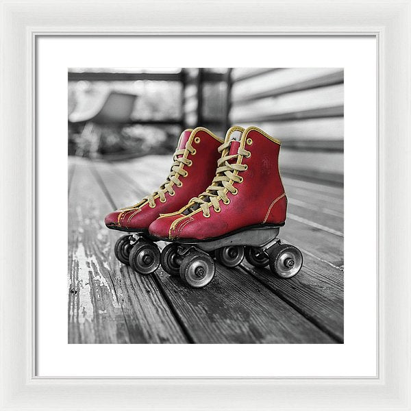 Retro Red Roller Skates - Framed Print from Wallasso - The Wall Art Superstore
