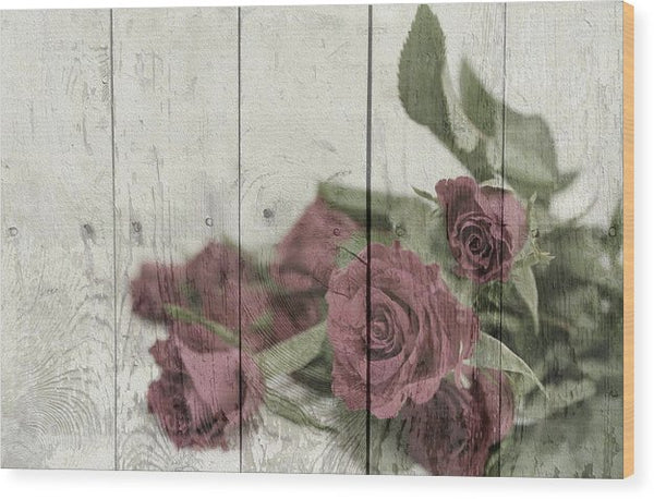 Rose On Wood Texture Decoupage Design - Wood Print from Wallasso - The Wall Art Superstore