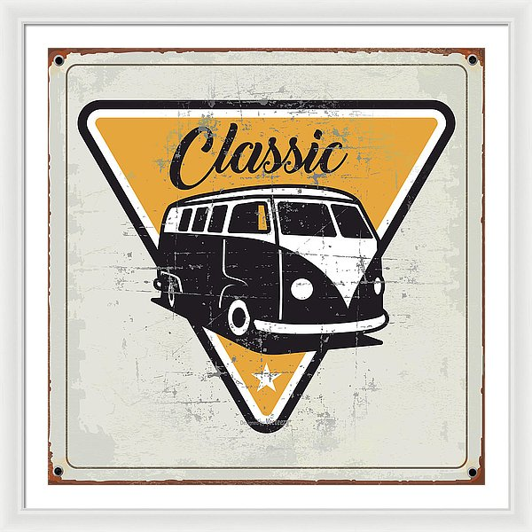 Rusty Yellow Distressed Classic Volkswagen Bus Sign - Framed Print from Wallasso - The Wall Art Superstore