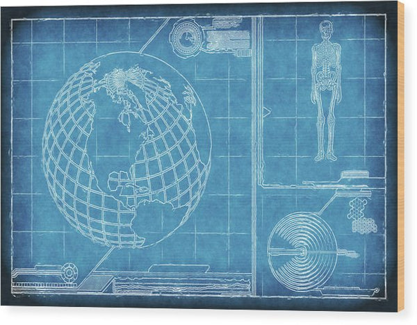 Surreal Blueprint Design Sketch - Wood Print from Wallasso - The Wall Art Superstore