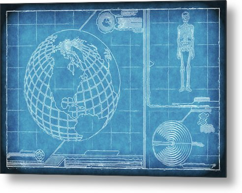 Surreal Blueprint Design Sketch - Metal Print from Wallasso - The Wall Art Superstore