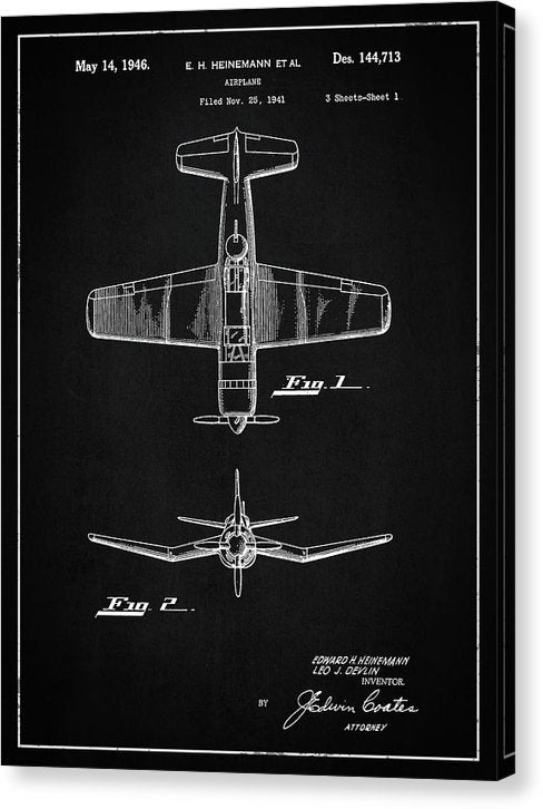 Vintage Airplane Patent, 1946 - Canvas Print from Wallasso - The Wall Art Superstore