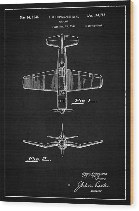 Vintage Airplane Patent, 1946 - Wood Print from Wallasso - The Wall Art Superstore