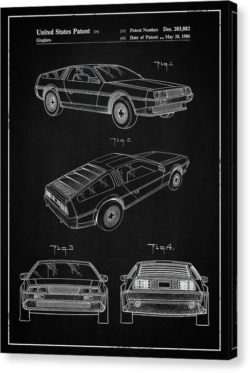 Vintage Delorean Patent, 1986 - Canvas Print from Wallasso - The Wall Art Superstore