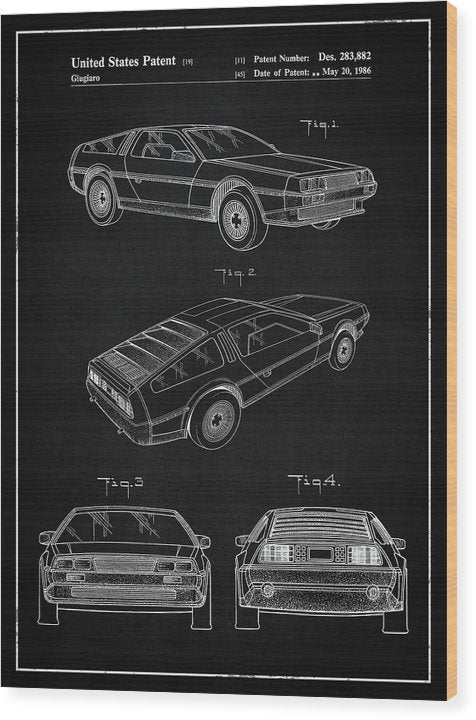 Vintage Delorean Patent, 1986 - Wood Print from Wallasso - The Wall Art Superstore