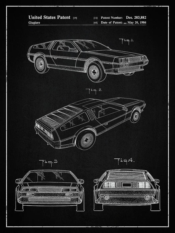 Vintage Delorean Patent, 1986 - Art Print from Wallasso - The Wall Art Superstore