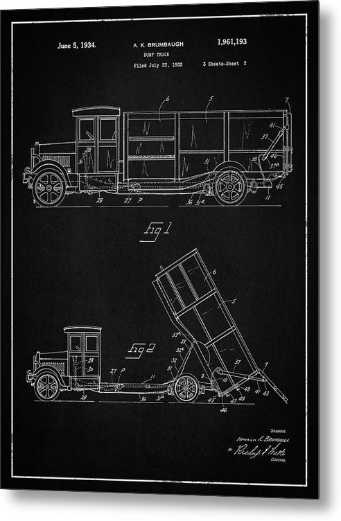 Vintage Dump Truck Patent, 1934 - Metal Print from Wallasso - The Wall Art Superstore