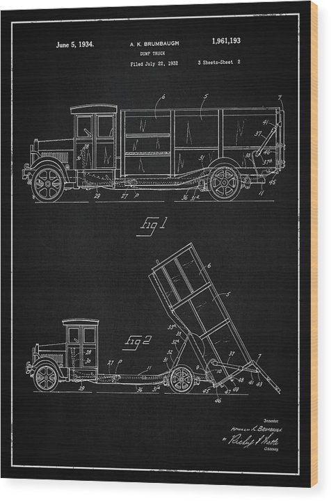 Vintage Dump Truck Patent, 1934 - Wood Print from Wallasso - The Wall Art Superstore