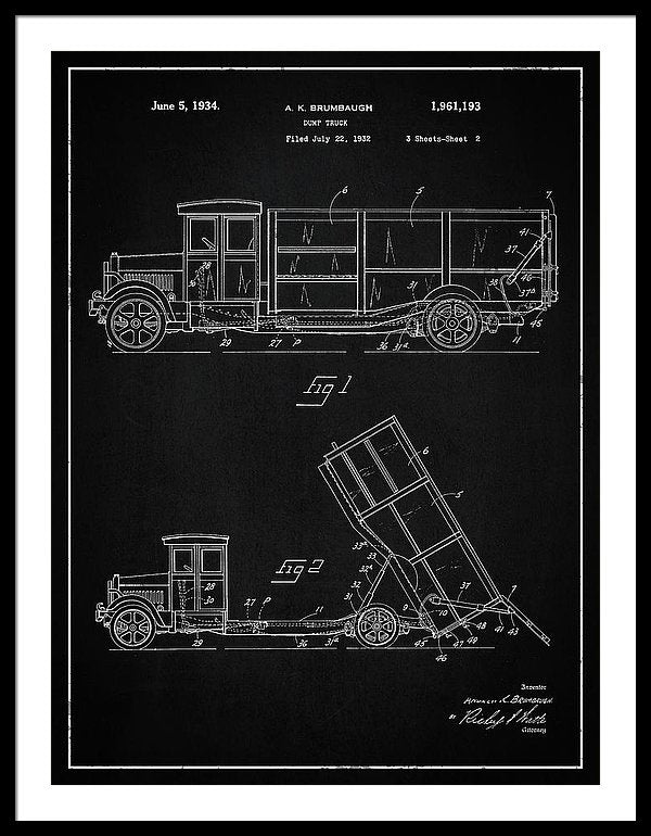 Vintage Dump Truck Patent, 1934 - Framed Print from Wallasso - The Wall Art Superstore