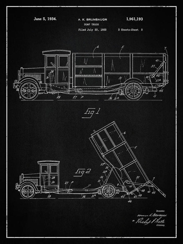 Vintage Dump Truck Patent, 1934 - Art Print from Wallasso - The Wall Art Superstore