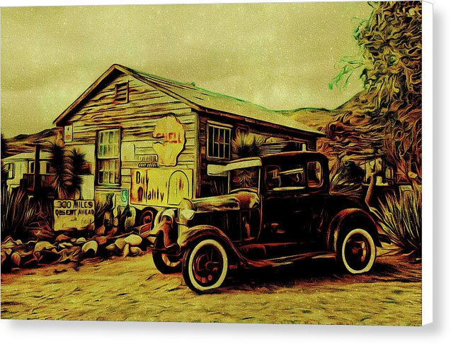 Vintage Gas Station Painting - Canvas Print from Wallasso - The Wall Art Superstore