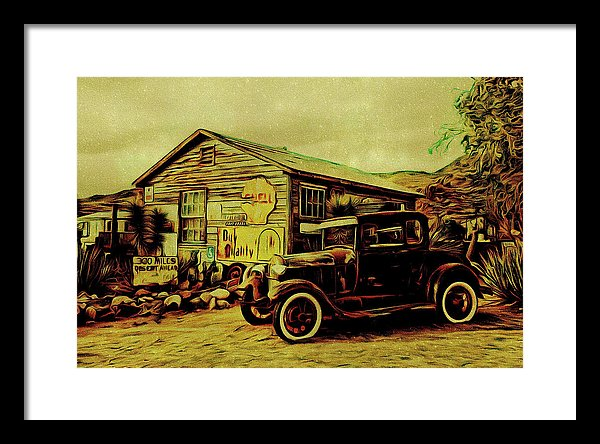 Vintage Gas Station Painting - Framed Print from Wallasso - The Wall Art Superstore
